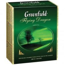 Чай Greenfield Flying Dragon, зеленый, 100 фольг. пакетиков по 2гр
