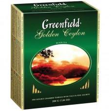 Чай Greenfield Golden Ceylon, черный, 100 фольг. пакетиков по 2гр