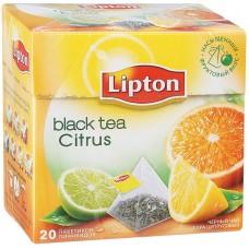 Чай Lipton Citrus, черный ароматиз., 20 пакетиков-пирамидок по 1,8гр