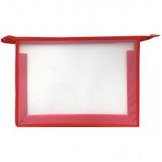 Папка для тетрадей 1 отделение, А4, красная, пластик, на молнии