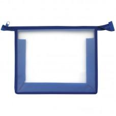 Папка для тетрадей 1 отделение, А4, синяя, пластик, на молнии