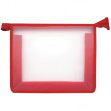 Папка для тетрадей 1 отделение, А5, красная, пластик, на молнии