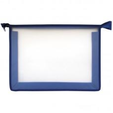 Папка для тетрадей 1 отделение, А5, синяя, пластик, на молнии